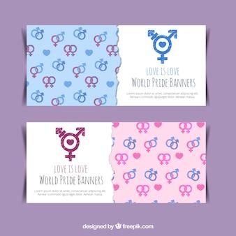 Banners com símbolos de gênero