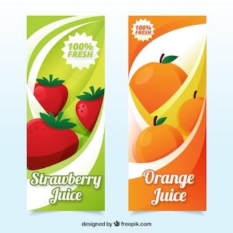 Banners com sumos de laranja e morango