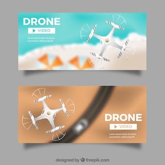 Banners com vista superior dos drones