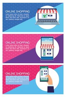 Banners, compras on-line com ilustração de laptop e smartphones