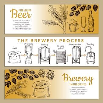 Banners conjunto de cervejaria.