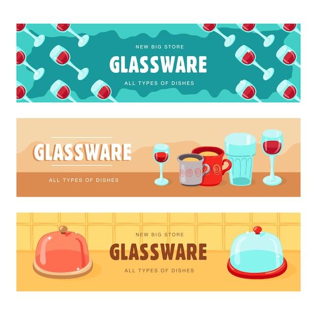 Banners criativos com artigos de vidro. banners com taças para vinho, taças
