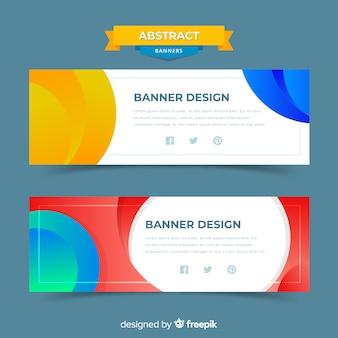Banners criativos com formas abstratas