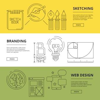 Banners criativos. computador arte processos web design publicidade impressão tecnologia desenvolvimento de marca conceitos de marketing