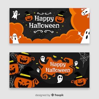 Banners criativos de halloween modernos