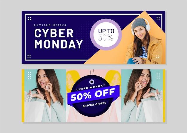 Banners criativos de segunda-feira virtual