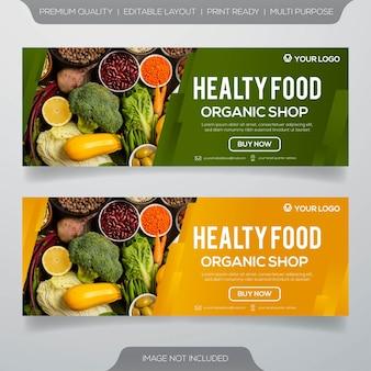 Banners culinários de comida saudável