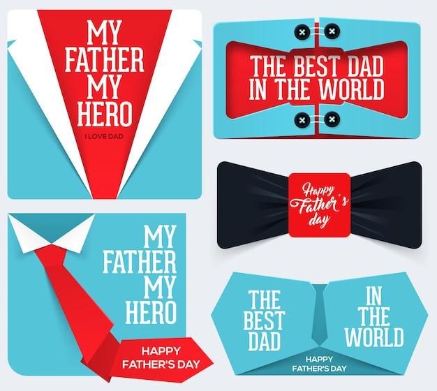Banners da coleção de feliz dia dos pais
