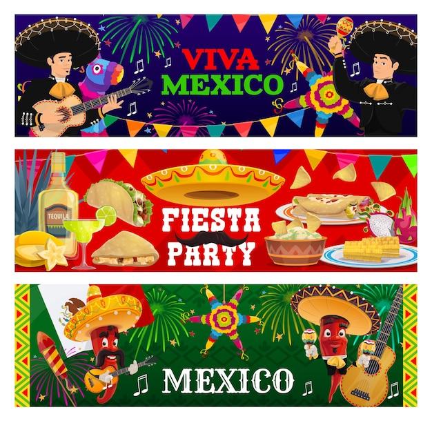Banners da festa de fiesta viva méxico