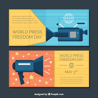 Banners da imprensa mundial Vetor grátis