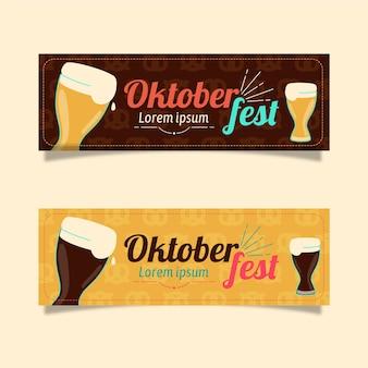 Banners da oktoberfest de design plano