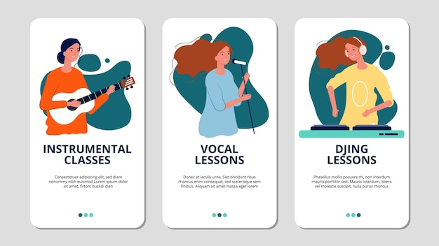Banners da web da escola de música. cursos de vocal, instrumental e dj.