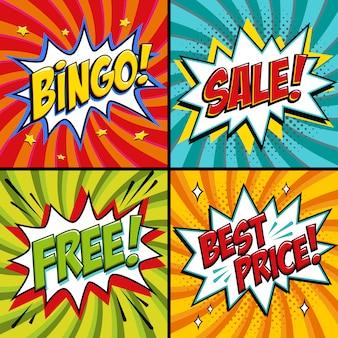 Banners da web de arte pop. bingo. livre. venda. melhor preço. fundo do jogo de loteria. comics pop-art