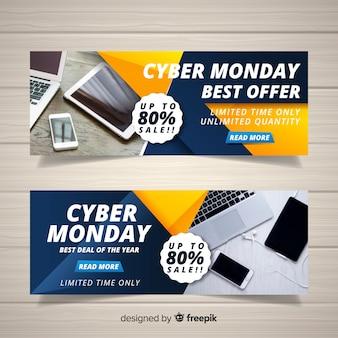 Banners da web de cyber segunda-feira