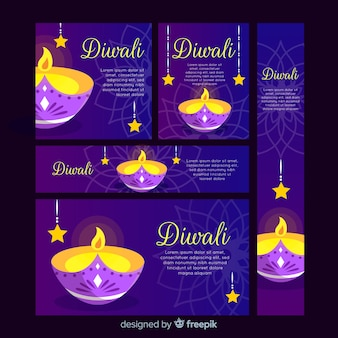 Banners da web de design plano diwali