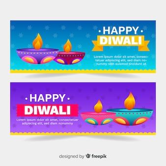 Banners da web de diwali em design plano