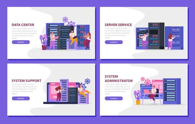 Banners da web definidos com administradores de sistema trabalhando isolados na sala do servidor