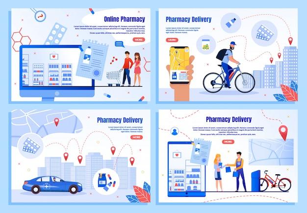 Banners da web para entrega de produtos farmacêuticos