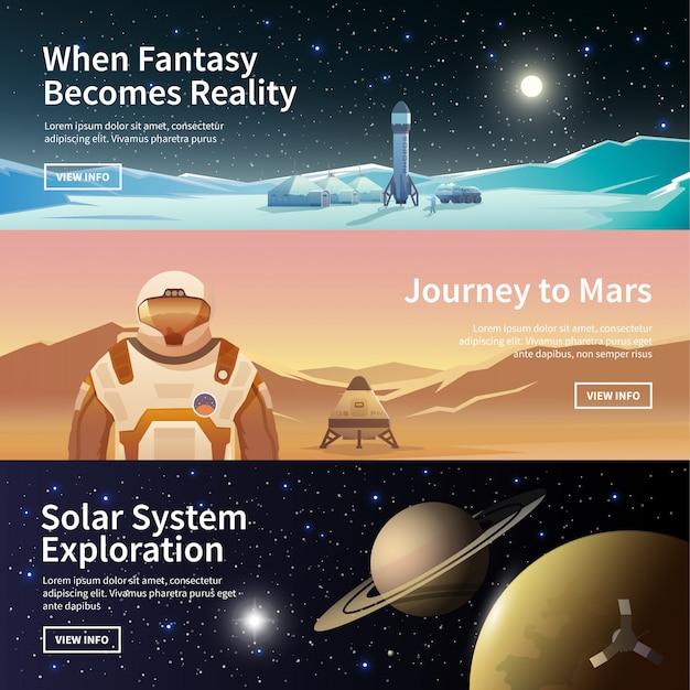 Banners da web sobre o tema da astronomia