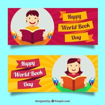Banners das crianças que lêem no dia livro