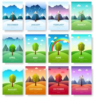 Banners das estações. fundo do conceito infográfico