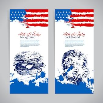 Banners de 4 de julho origens com a bandeira americana. desenho de esboço desenhado à mão para o dia da independência