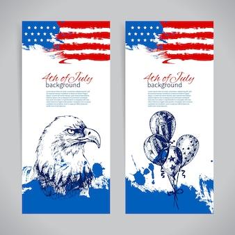 Banners de 4 de julho origens com a bandeira americana. projeto desenhado à mão vintage para o dia da independência