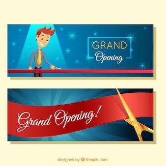 Banners de abertura com personagem sorridente
