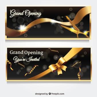 Banners de abertura de ouro com estilo realista