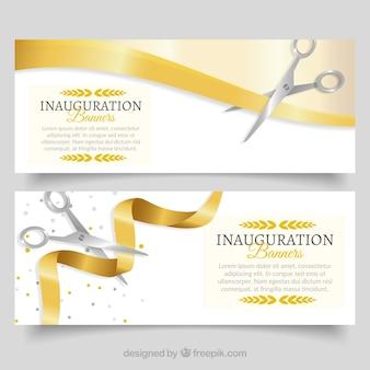 Banners de abertura realistas com fita dourada