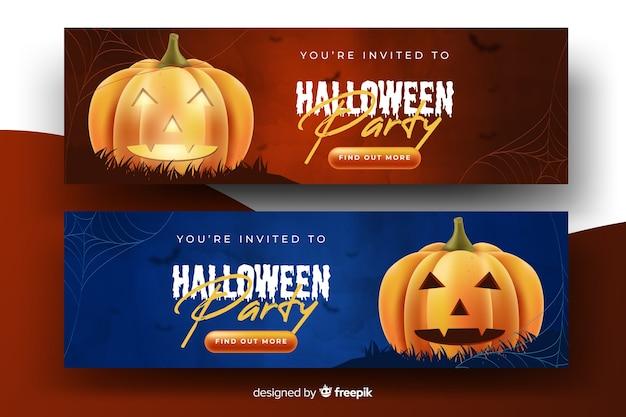 Banners de abóbora de halloween realista