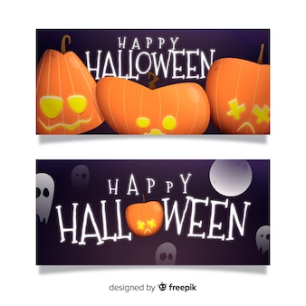 Banners de abóboras curvadas halloween plana