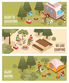 Banners de acampamento caminhadas isométricas