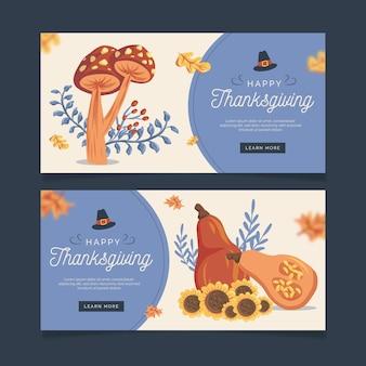 Banners de ação de graças em design plano