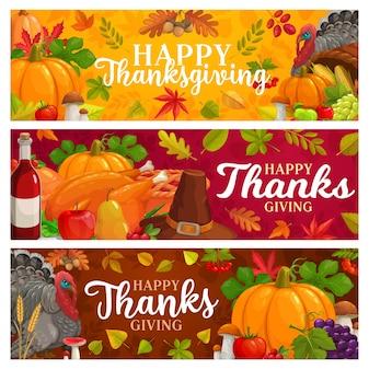 Banners de ação de graças feliz com folhas caindo, colheita de outono, abóbora, turquia com chapéu e vinho. cogumelos, bordo, carvalho ou choupo e bétula com rowan thanks giving day saudações sazonais