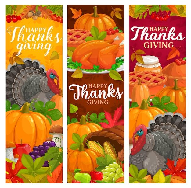 Banners de ação de graças feliz com folhas caindo, colheita de outono, torta de abóbora, turquia, mel e frutas. cogumelos, bordo, carvalho ou choupo e bétula com folhagem de sorveira-brava. obrigado dando saudações de dia