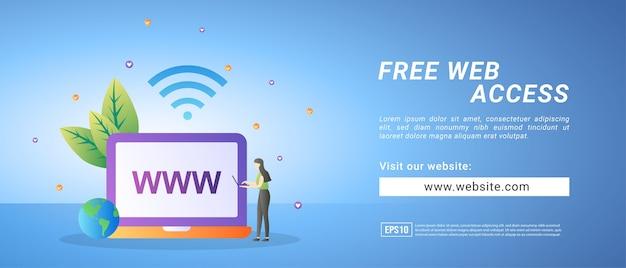 Banners de acesso gratuito à web, acesso de teste gratuito ao site. banners para mídia promocional