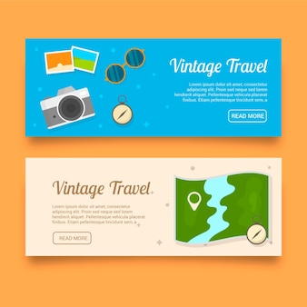 Banners de acessórios de viagens vintage