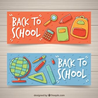 Banners de acessórios escolares desenhados à mão