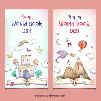 Banners de aguarela feliz dia do livro mundial