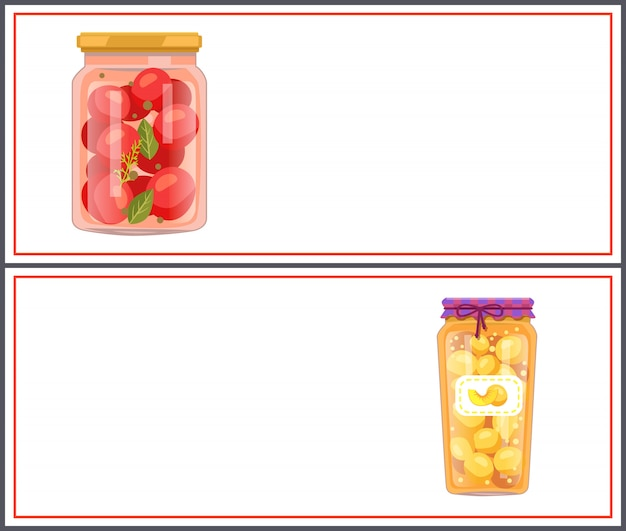 Banners de alimentos preservados com tomates e pêssegos
