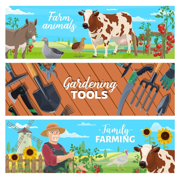 Banners de animais de fazenda, agricultura familiar e ferramentas de jardinagem. aves e gado, colheita de vegetais. fazendeiro cultivando tomates, vaca leiteira e burro, ganso, peru e codorna, vetor de paisagem de campo