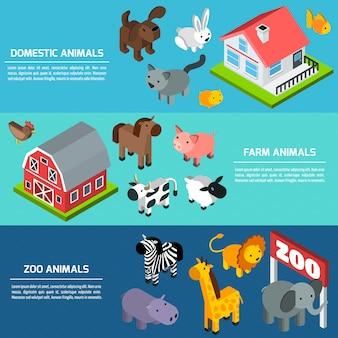 Banners de animais isométricos