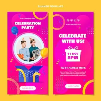 Banners de aniversário coloridos com gradiente vertical
