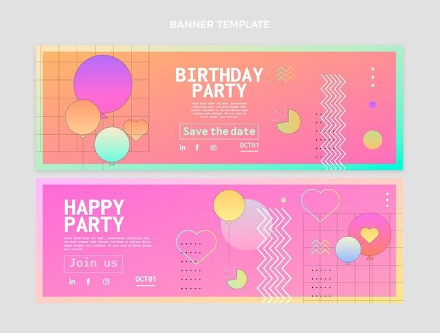 Banners de aniversário coloridos gradientes horizontais