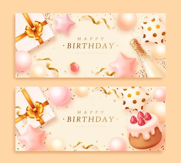 Banners de aniversário com bolo e caixa de presente realistas