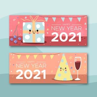 Banners de ano novo 2021 desenhados à mão