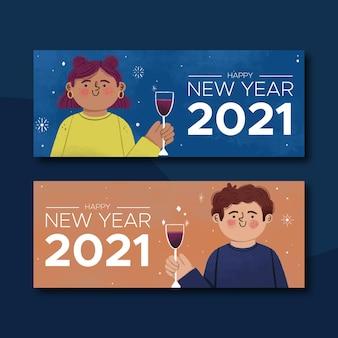 Banners de ano novo de 2021 com personagens e champanhe