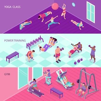 Banners de aptidão horizontal conjunto com pessoas no ginásio e na aula de ioga 3d isométrico isolado