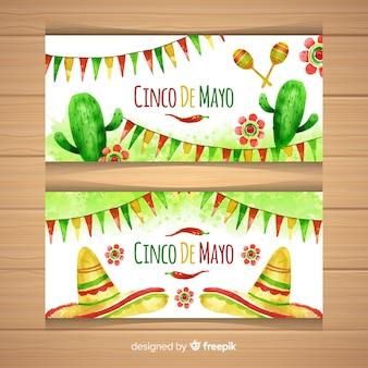 Banners de aquarela cinco de maio